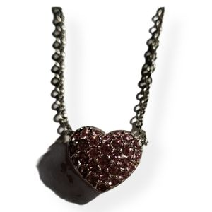Swarovski pink heart necklace